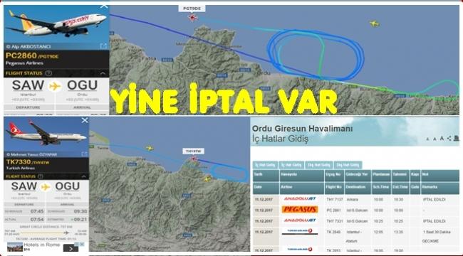 Ordu Giresun Havalimanı'nda uçuş iptalleri devam ediyor