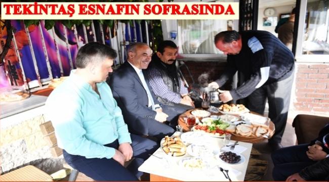 Başkan esnafla kahvaltı etti