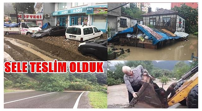 Sağanak yağış Ünye,Fatsa ve Perşembe'de etkili oldu