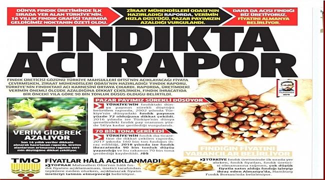 Fındık Milli Gazete'nin manşetinde