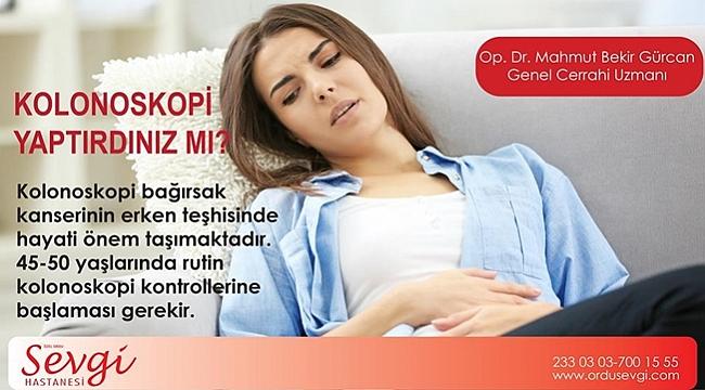 Gürcan: Kolon kanseri için düzenli kontrol şart