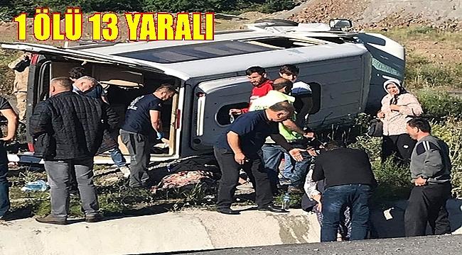Minibüs takla attı: 1 ölü 13 yaralı