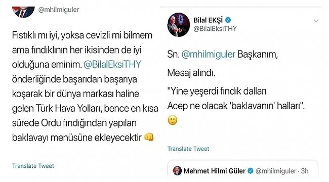 Başkan Güler istedi THY 'Fındıklı Baklavayı' menüye dahil etti