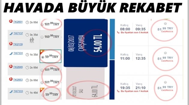 UÇAK BİLET FİYATLARINDA DAMPİNG